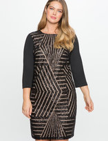 ELOQUII Plus Size Patterned Sequin Detail Dress