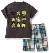 Kids Headquarters Brown 'Today's Vibe' Tee & Plaid Shorts - Infant Toddler & Boys