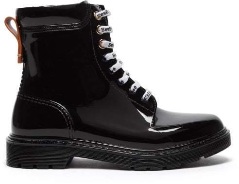 See by Chloe Leather Trim Pvc Rain Boots - Womens - Black