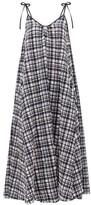 Solid & Striped Tie-shoulder Gingham Seersucker Midi Dress - Womens - Black White
