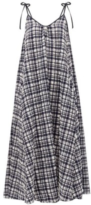 Solid & Striped Tie-shoulder Gingham Seersucker Midi Dress - Black White