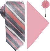 Jf J.Ferrar JF Stripe Pastel Tie, Pocket Square and Lapel Pin Set