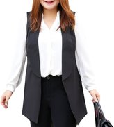 MSSHE Women's Open Longline Sleeveless Duster Blazer Jacket Coat Plus