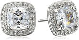 Swarovski Myia Passiello Platinum-Plated Sterling Silver Cushion-Cut Zirconia Halo Earrings
