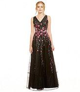 Kay Unger V-Neck Sleeveless Floral Applique Tulle Ballgown