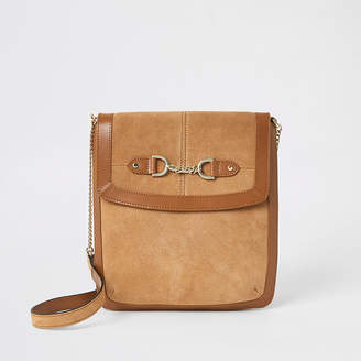River Island Beige leather chain front messenger bag