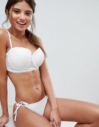 Lepel London White Sands Lace Balconette Bikini Top DD - G Cup