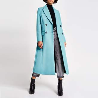 River Island Womens Bright Blue double breasted longline coat