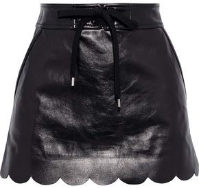 RED Valentino Scalloped Glossed-leather Mini Skirt