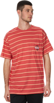 Stussy Shield Stripe Mens Pocket Tee Red