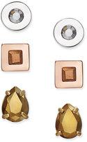 Kate Spade Tri-Tone 3-Pc. Set Crystal Stud Earrings