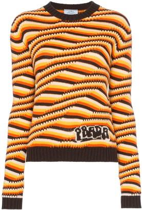 Prada Geometric striped cashmere knit jumper