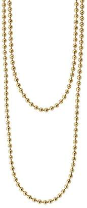 """Lagos Caviar Gold Collection 18K Gold Ball Chain Necklace, 34"""""""