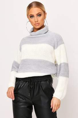 I SAW IT FIRST Grey Thick Stripe Knitted Roll Neck Jumper