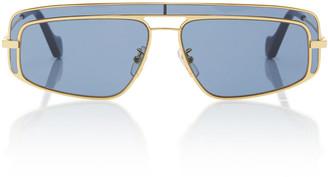 Loewe Square-Frame Metal Sunglasses