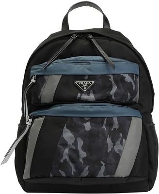 Prada Contrastng Panelled Zip-Up Backpack