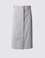Per Una Cotton Rich Striped Straight Midi Skirt