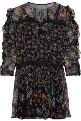 Love Sam Lace-trimmed Floral-print Georgette Mini Dress