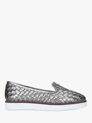 Carvela Mighty Leather Woven Loafers, Pewter