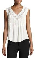 Rebecca Taylor Lace-Inset Sleeveless Silk Top, Chalk