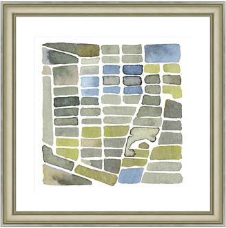 Vintage Print Gallery Stacks Of Green Iii Framed Graphic Art