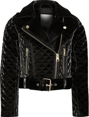 River Island Girls Black vinyl belted biker jacket