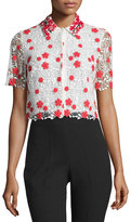 Giambattista Valli Embroidered Lace Crop Top, White/Red