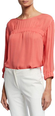 Emporio Armani 3/4-Sleeve Silk Chiffon Blouse with Elastic Detail
