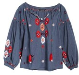 Kas Women's Elora Embroidered Chambray Top