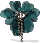 Lanvin Gina Burnished Gunmetal-tone, Crystal And Organza Brooch - Emerald