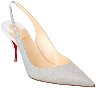 Christian Louboutin Clare 80 Glitter Leather Slingback Pump