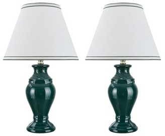 "Red Barrel Studio Tamworth Ceramic 19.5"" Table Lamp Set Red Barrel Studio Base Color: Green"