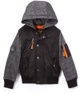 Urban Republic Black & Orange-Accent Contrast Hooded Jacket - Boys