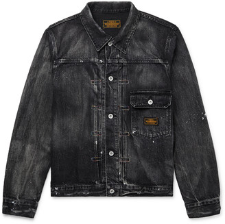 Neighborhood Distressed Paint-Splattered Denim Jacket