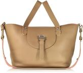 Meli-Melo Light Tan and Persimonio Leather Thela Medium Tote Bag