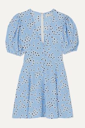 Faithfull The Brand Ilia Floral-print Crepe Mini Dress - Light blue
