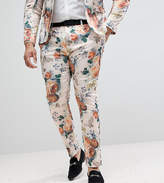 Asos Plus Wedding Super Skinny Suit Pants In Champagne Floral