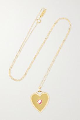 Jennifer Meyer Large Heart 18-karat Gold, Tourmaline And Diamond Necklace