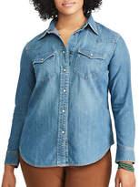 Chaps Plus Denim Western Shirt