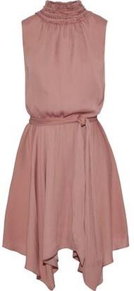 Halston Asymmetric Belted Sateen Mini Dress