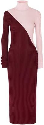 Gabriela Hearst Nazim Two-tone Ribbed Cashmere And Silk-blend Turtleneck Maxi Dress