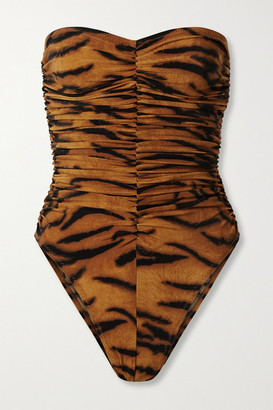 Norma Kamali Slinky Marissa Ruched Tiger-print Bandeau Swimsuit - Brown