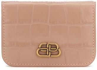 Balenciaga BB Mini croc-effect leather wallet