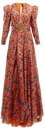 Dundas Embellished Floral-print Fil-coupe Silk-blend Gown - Womens - Pink Multi