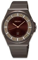 Seiko Ladies' Brown Ion Finish Quartz Watch in Stainless Steel with 84 Swarovski® Elements