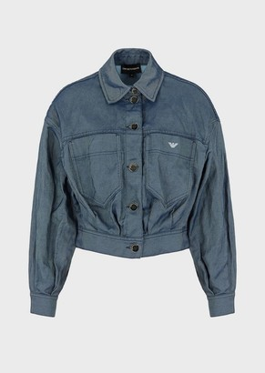 Emporio Armani Bomber Jacket In Drill Effect Denim