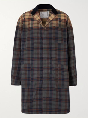 Sacai Double-Faced Checked Cotton Trench Coat - Men - Brown
