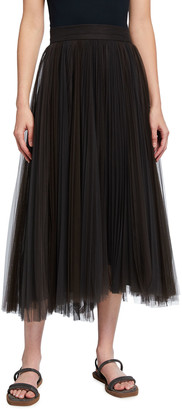 Brunello Cucinelli Two-Tone Pleated Tulle Skirt