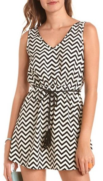 Charlotte Russe Belted Chevron Stripe Tank Dress