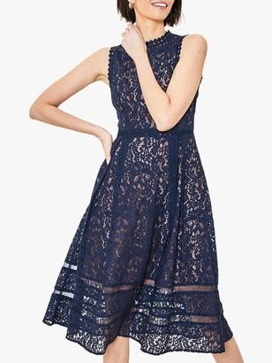 Oasis Lace Midi Dress, Navy